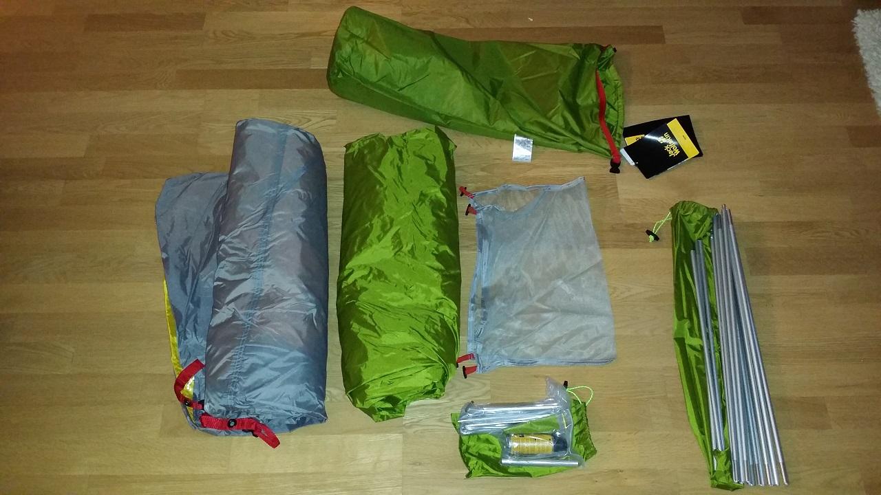 Alt innhold i teltpakken